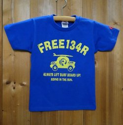 画像1: 134R T-Shirts Kids blue surfcar
